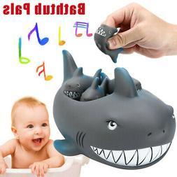 Shrilling Rubber Shark Family Bathtub Pals Floating Bath Tub