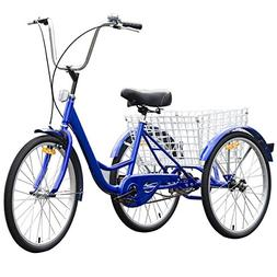 MD Group Speed Tricycle Blue Single 3 Wheels Bike Cruiser St