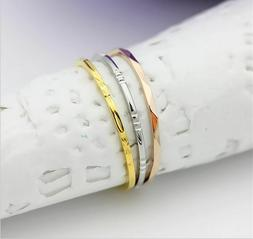 Stainless steel Fine tricyclic tricolor Carved lines design