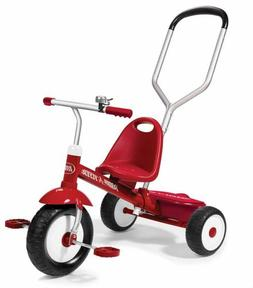Radio Flyer Steer and Stroll Trike, Tricycle with Push Handl