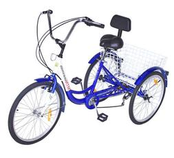 Mophorn Adult Tricycle 24 Inch 3-Wheel Bike 6/7 Speed Adult
