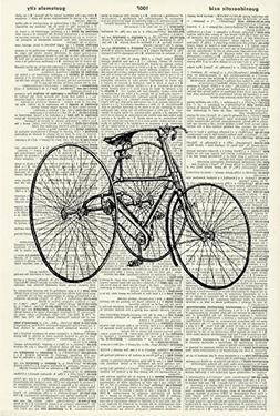TRICYCLE - Vintage Illustration - Black and White Print - Ar