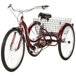 "Tricycle For Adults Trike Bike 3 Wheeler 26"" Wheels Single S"
