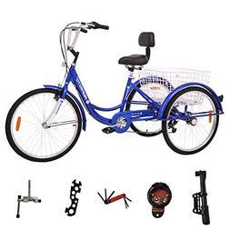 MOPHOTO Adult Tricycle Trike Cruiser Bike Three-Wheeled Bicy