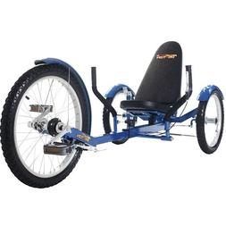 "TriTon 20"" 3 WHEEL Tricycle RECUMBENT Trike Bike Blue"