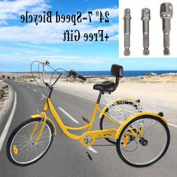 "Adult Tricycle 7-Speed 24"" 3-Wheel Bicycle Trike Bike  Cruis"