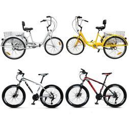 "Unisex Adult 24"" 3-Wheel 7-Speed Tricycle Bicycle Bike Cruis"