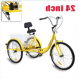 "Unisex Adult 24"" 3-Wheel Trike Bicycle Shimano 7-Speed Tricy"