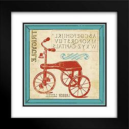 Vintage Tricycle 20x20 Black Modern Frame and Double Matted