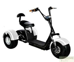 WHITE Electric Scooter 3 Wheel Trike Wide Tire 2000W 20AH 60