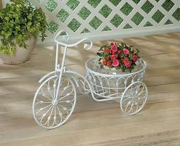 white metal shabby scroll bicycle tricycle Shelf Plant pot p