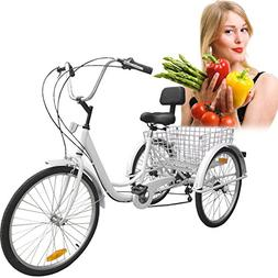 Iglobalbuy White 24-Inch 6-Speed Adult Tricycle Trike 3-Whee