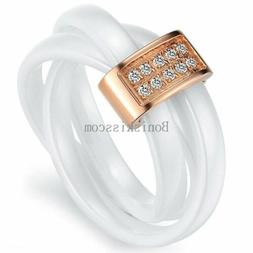 White Tricyclic Dome Ceramic Rolling Ring Silver / Gold Tone