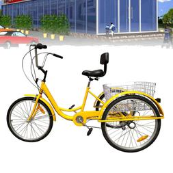 """7-Speed 24"""" 3 Wheel Adult Bicycle Tricycle Cruise Bike Unass"""