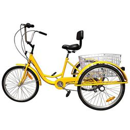 "Iglobalbuy Yellow 24"" 6-Speed 3 Wheel Adult Bicycle Tricycle"