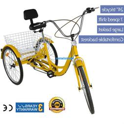 yellow 6 speed 24 3 wheel adult